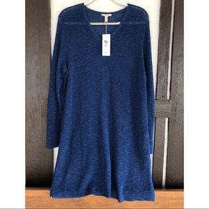 Eileen Fisher Cotton Linen Tunic Dress V Neck Blue
